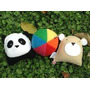 Sonajeros De Tela. Set X 3 Unidades Panda Pelota Osito