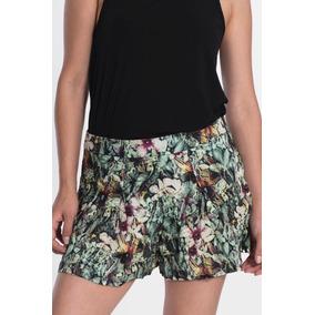 Shorts Saia Feminino Marca My Place Estampado Cintura Alta