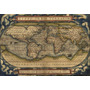 Mapamundi Antiguo De 33 X 48 Cm - Laminas En Bastidor -