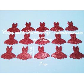 Aplique Vestido Bailarina Em Eva Glitter - Pac. 10 Unidades