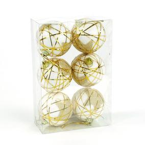 Esferas De Navidad Blanca Con Hilos Dorados Y Estrellas