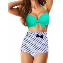 Bikini Traje De Baño Dama Mujer Retro Falda Talla 42 Cintura