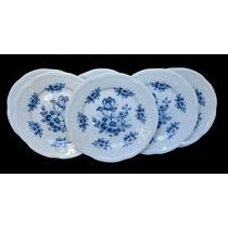 Juego 6 Plato Postre Porcelana Verbano Flores Azules Relieve