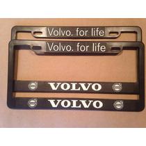 Juego 2 Portaplacas Y 4 Tapones Valvula Logo Volvo
