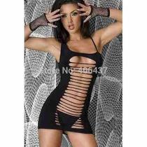 Micro Vestido Curto Elastico Reversível Aberto Um Dos Lados