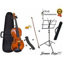 Kit Violino 3/4 Arco Breu Case Espaleira Estante C/ Case!