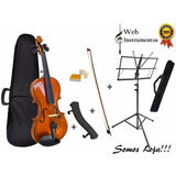 Kit Violino 3/4 Arco Breu Case Espaleira Estante C/ Case!