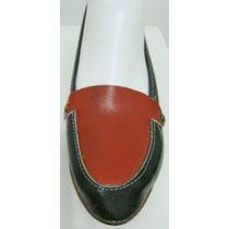 Zapatos Retro Vintage 35 Cuero Negro Y Rojo (ana.mar)