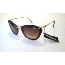 Óculos De Sol Feminino Marrom Com Fundo Creme Italy Design!!