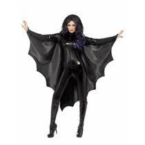 Alas De Murciélago C/ Collar Tela Satinada Disfraz Halloween