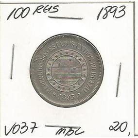 Moeda Brasil 100 Reis 1893 Niquel V037 Mbc -4148
