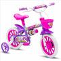 Bicicleta Infantil Femenina Nathor Aro 12 Violeta Con Blanco