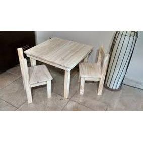 combo mesita nio x sillas madera pino envios pais