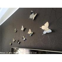 Borboleta 3d Adesivo Kit Espelhado Decoração Prata