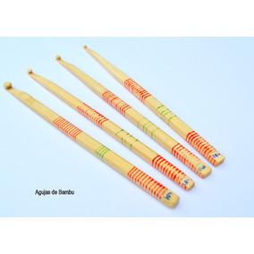 Agujas De Crochet N°5 En Madera De Bambu