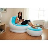 Conjunto Poltrona E Puff Azul Intex Lounge Chaise #68572