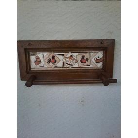 Porta Papel Toalha Em Madeira E Faixa Em Cerâmica