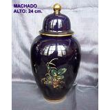 Potiche Vintage Azul Cobalto Porcelana Machado Años 50 Colec