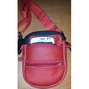Bolsa De Piel, Roja Para Celular Pequeño, Con Asa Ajusta