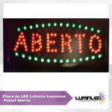 Placa Quadro Led Letreiro Luminoso Painel Aberto 48x25cm