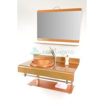 Gabinete De Vidro 70 Cm Banheiro Dourado