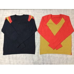 Lote 2 Sweter Escote Redondo Y Escote V Manga Ranglan