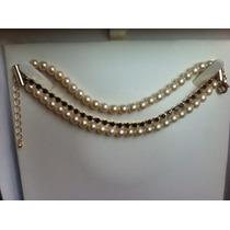 Hermosa Pulsera Baño De Oro,perlas Checas Y Cristales Negros