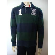 Ref 51-camiseta Beagle Masculina Polo Listrada Azul/verde