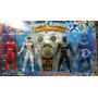 Kit C/ 4 Bonecos Power Ranger + Morfador + 2 Discos