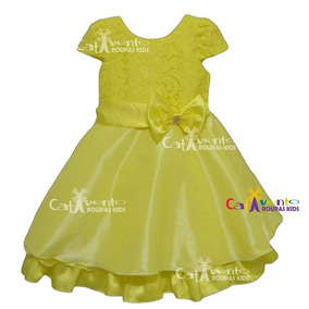 Vestido De Festa Infantil Rendado Bela Tam 04 Ao 14 E Tiara