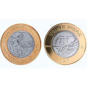 Lote 5 De Moneda 20 Pesos Centenario Fuerza Aérea Mexicana