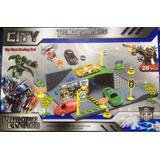 Súper Garage De Transformers Con 2 Vehiculos 1 Helicoptero