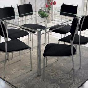 Mesa De Jantar Sarah Com 6 Cadeiras Cromada/preto, P/entrega