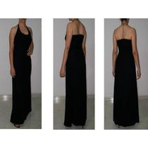 Vestido Largo Elegante Fiesta Negro En Chifon,