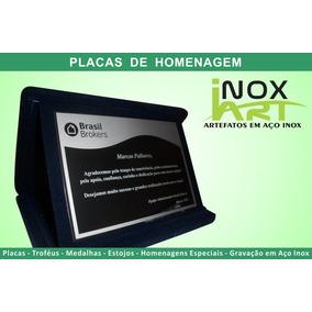 Placa De Homenagem Em Aço Inox E Estojo De Veludo - 20x16cm