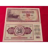 Billete Del Mundo Yugoslavia 20 Dinara 1978 Hermoso Nuevo