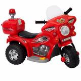 Moto Eletrica Infantil Vermelha Policia Motoca Bw-002