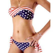 Traje De Baño Bikini Moda Bandera Eeuu, Usa Con Tirantes Des
