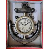 Relogio 38cm Ancora Navio Timão Leme Envelhecido Antigo