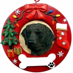 Adorno Navideño Circular Labrador Chocolate - Ceramica - Her