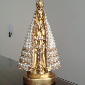 Imagem Nossa Senhora Aparecida Dourada Pérolas, Strass 20cm
