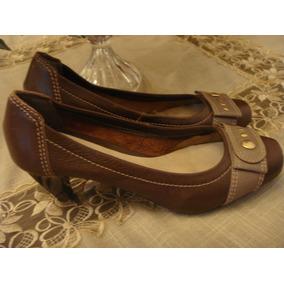 Sapato Marrom Dourado Nhc Shoes Confort Tam. 35 Como Novo