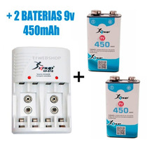 Kit Carregador Knup Pilha Aaa Aa 9v + 2 Baterias 450ma Recar