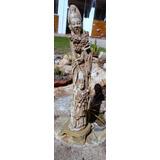 Estatua Oriental Antigua De Pasta Y Base De Bronce Macizo