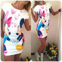 Vestido Feminino Manga Curta Justo Importado Mickey Minnie