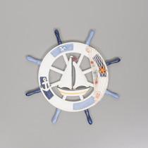 Timão Madeira Decorativo Barco Decorado Resina 43x43 R 25204