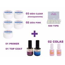 Kit Unha Gel Uv + Top Coat + Primer + Tips + Cola Acrigel