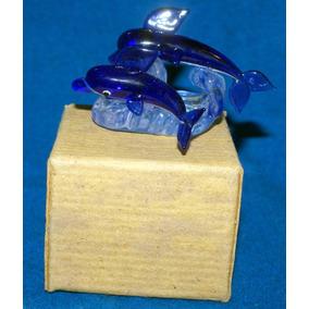 Figura De Dos Delfines En Crsital De Murano Azul