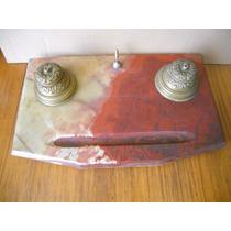 Tintero Antiguo Marmol Onix Y Bronce Para Mesa Escritorio