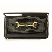 Cartera Gucci Horsebit Patent Leather Clutch Bag Femenino